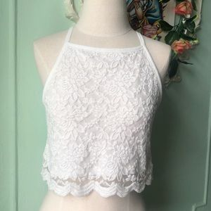 H&M lace white crop top.